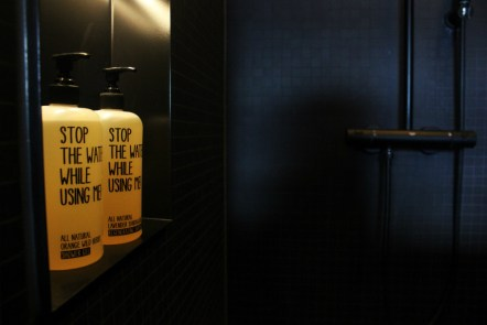 25hours Bikini Berlin Review - save water shower gel - Charlie on Travel