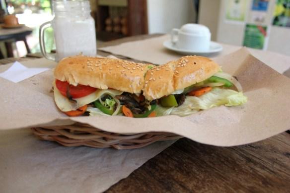 Sandwich at la casa natural Valladolid Mexico - Charlie on Travel