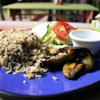Coconut rice and beans budget meal in Belize - Charlie on Travel