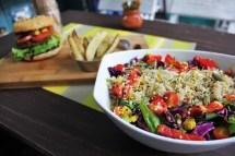 Vegetarian in Mexico City - vegan burger and salad