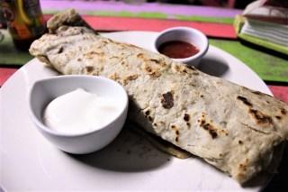 Homemade burrito at Meldys Caye Caulker