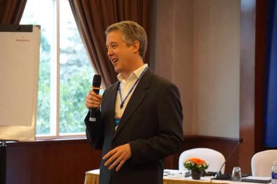 Charlie Pownall speaking on crisis communications in Hanoi, 2015