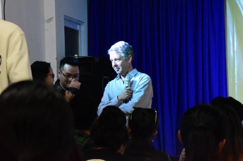 Charlie Pownall speaking in Ho Chi Minh City, Vietnam