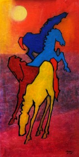 """4 horses, Oil on Paper, 18"""" x 36"""", Sold"""