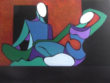 "Indigo Nudes, Oil on Canvas, 36"" x 48"""