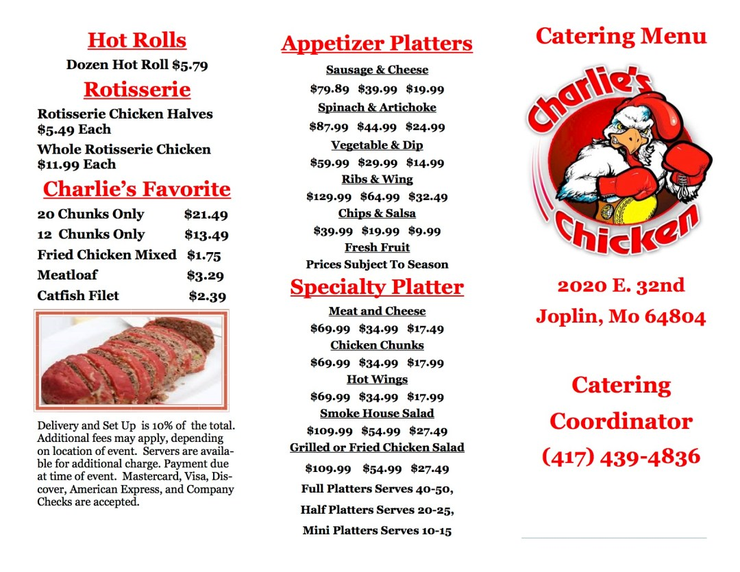 Charlie's Chicken Catering Menu 1