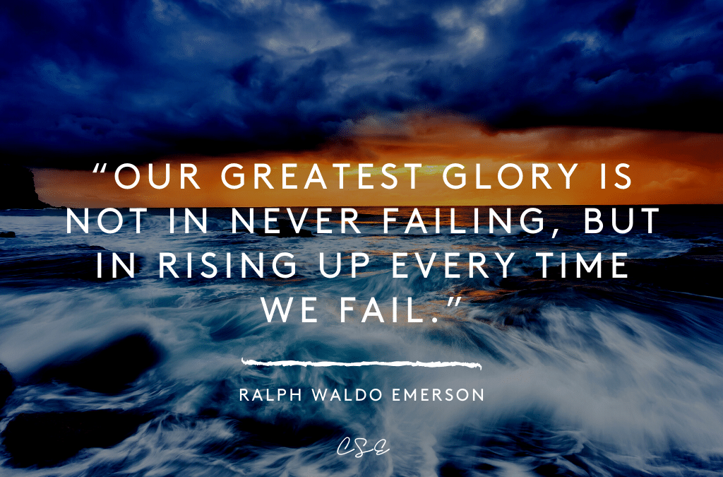 Music, Quotes & Coffee - picture of a quote by Ralph Waldo Emerson about greatest glory