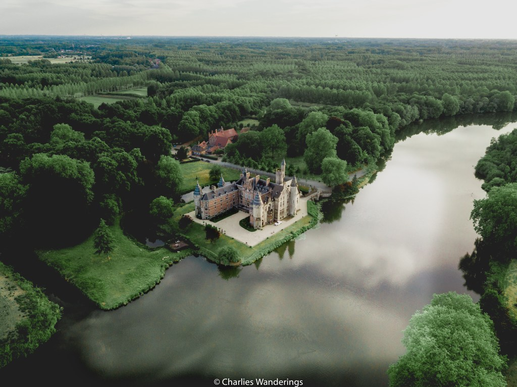 Drone image of castle in Belgium