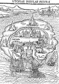 """Ilustracja do pierwszego wydania """"Utopii"""". Źródło: wikipedia.com"""