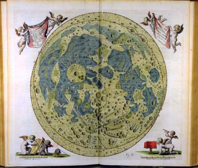 Mapa Księżyca z roku 1647 Jana Heweliusza. Źródło: http://www.theawl.com/2011/11/mapping-the-moon