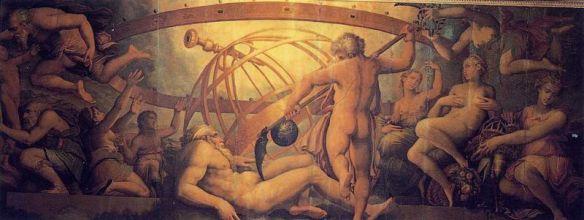 Obraz Giorgio Vasariego - okaleczenie Uranosa przez Kronosa. Znalezione na http://archeos.pl/artykul/4969