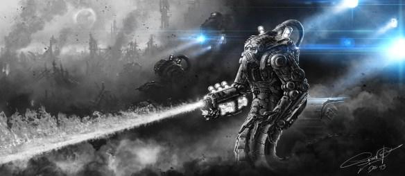 Cyborg wojskowy. Źródło: http://skavenzverov.deviantart.com/art/Military-Hazard-Class-S-Type-Cyborg-Antharra-419226620