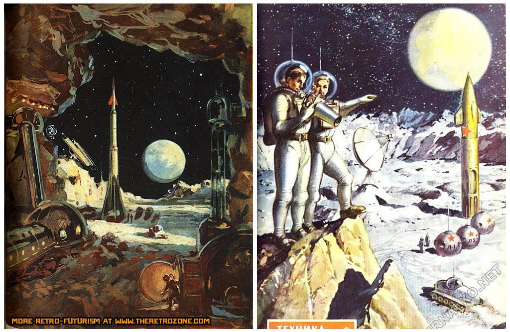 """Takie tam okładki z sowieckich magazynów typu """"Młody Technik"""". Źródło: http://www.theretrozone.com/retro-space/soviet-moon-base-retro-space-art.jpg"""