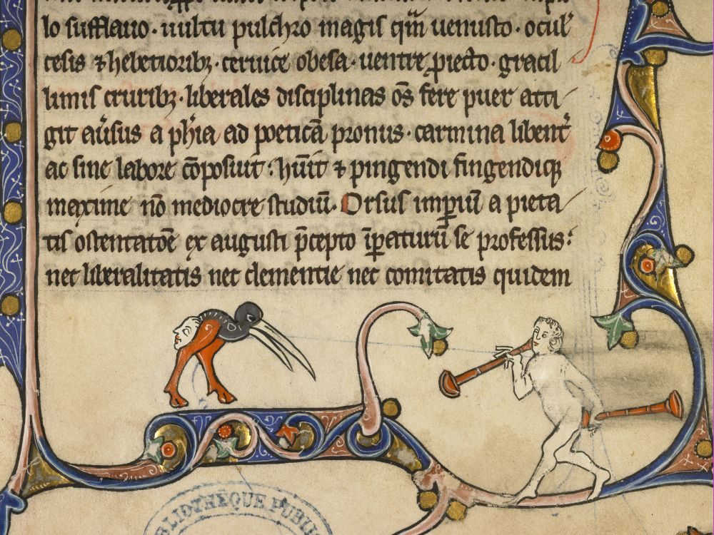 ass trumpet (dupna trąbka) Vincent of Beauvais, Speculum historiale, France 1297. Boulogne-sur-Mer, Bibliothèque municipale, ms. 131, fol. 202r