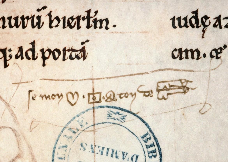 I znowu bazgroły. Ach, ci mnisi... Podpis pod zdjęciem mówi, że to rebus z 14/15 wieku.  ( Amiens, Bibliothèque municipale, ms. 28, fol. 144r)
