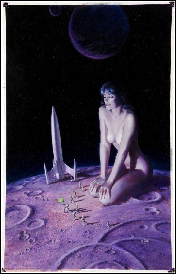 Lądowanie na Księżycu:) Grafika autorstwa Joe Chiodo, 1984