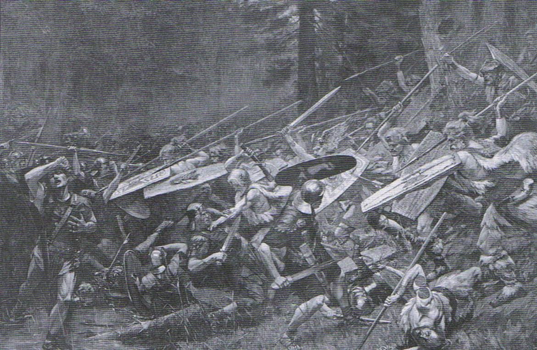 A tutaj bitwa pod Aquae Sextiae. Źródło: https://commons.wikimedia.org/wiki/File:Akvy_Secstievy_Battle.jpg