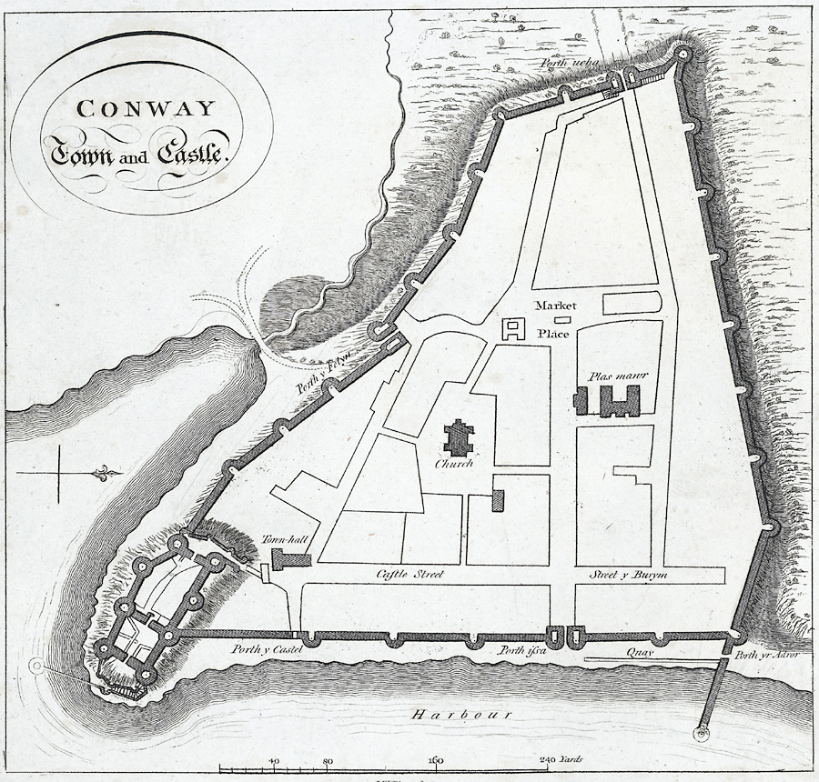 Plan zamku i miasta Conwy z roku 1800. Źródło: https://commons.wikimedia.org/wiki/File:Conway_Town_and_Castle.(Plan).jpeg