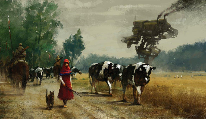 Wojna, nie wojna. Krowa się sama nie wydoi. Źródło: https://www.artstation.com/artist/jakubrozalski