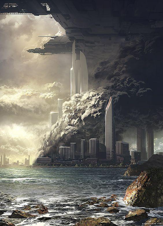 Grafika do projektowanej gry komputerowej. Źródło: http://kotaku.com/5927634/nazi-explosions-meet-beautiful-landscape-paintings-in-this-video-game-concept-art