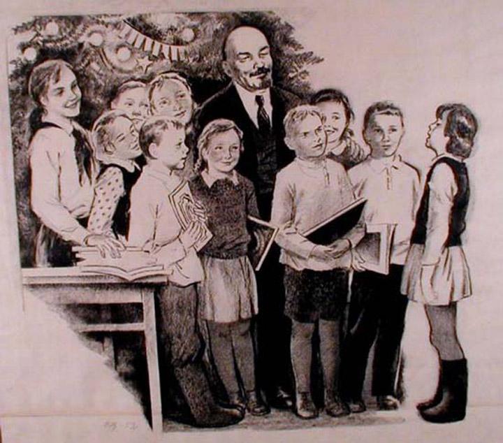 Sowieckie dzieci wciąż pamiętają o nauce Lenina. Stworzone przez Valerian V. Shcheglov. Źródło:https://flic.kr/p/bNo5LZ