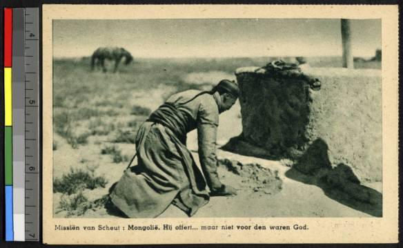Ofiara przed kamiennym ołtarzem mongolskiego bóstwa. Źródło: http://digitallibrary.usc.edu/cdm/ref/collection/p15799coll123/id/81271
