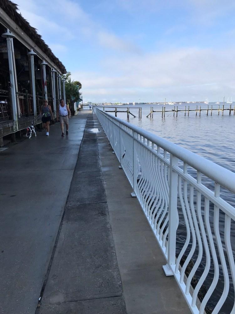 Harbor walk in front of Hurricane Charlies bar