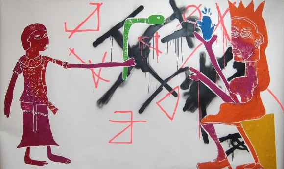 20150626155039-5-cedar-lewisohn-untitledmesopotamian-and-egyptian-gods-hand-pressed-woodcut-on-paper-with-spray-paint-and-ink-2013-appox-8f-3-1100x655