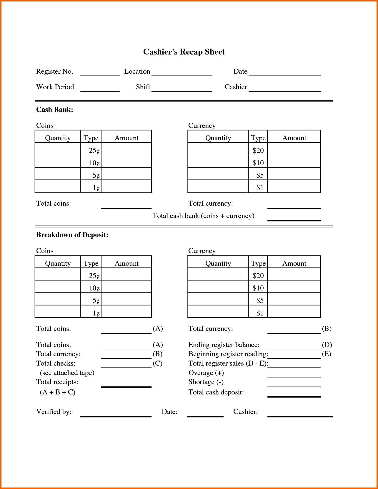 Cash Drawer Balancing Sheet