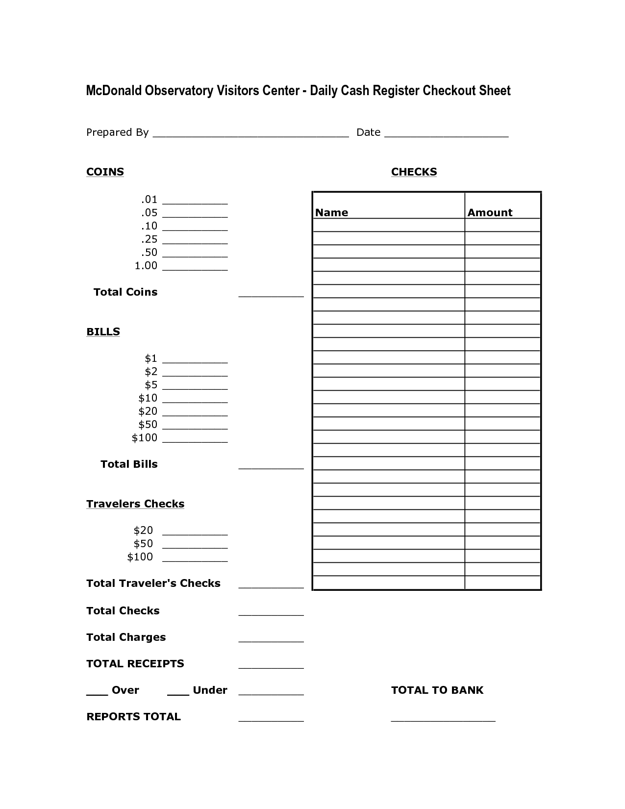 Cash Drawer Count Sheet Template