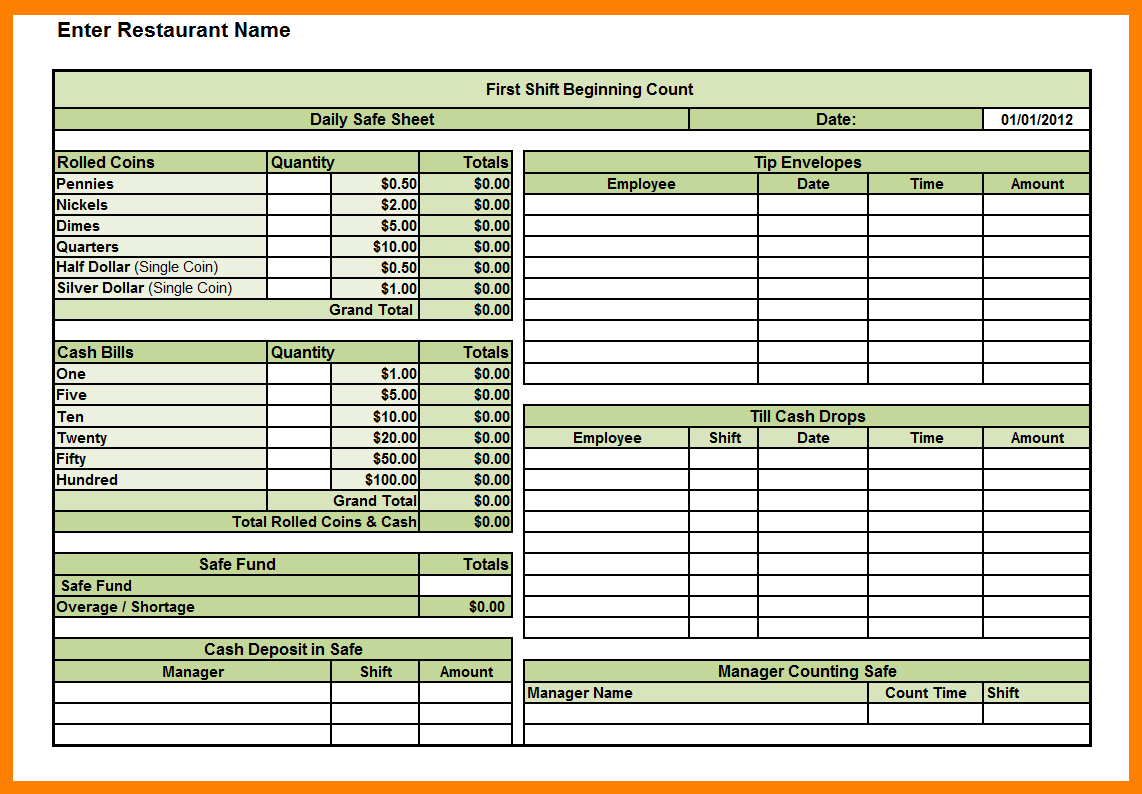 Daily Cash Sheet Template Excel