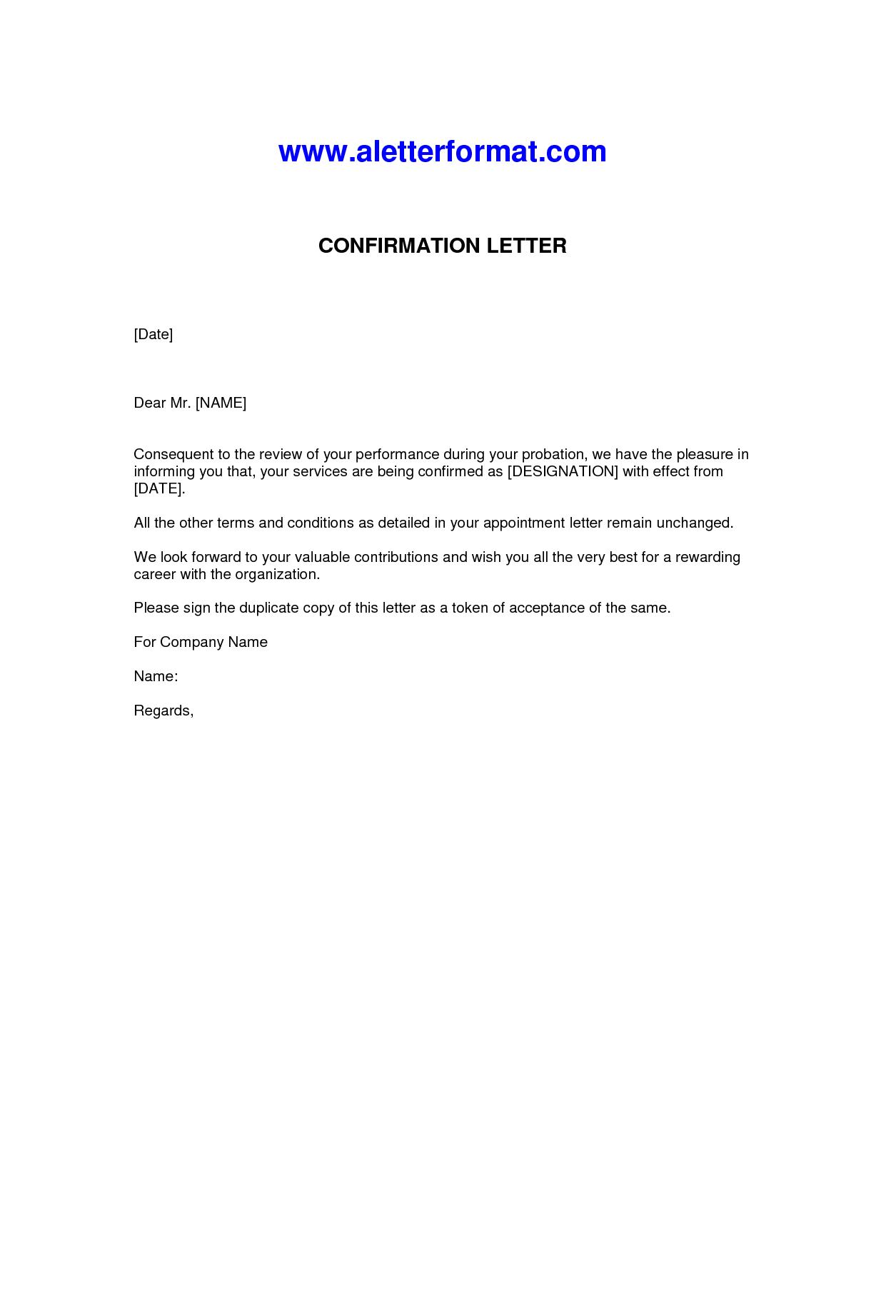 Letter Confirmation Employment