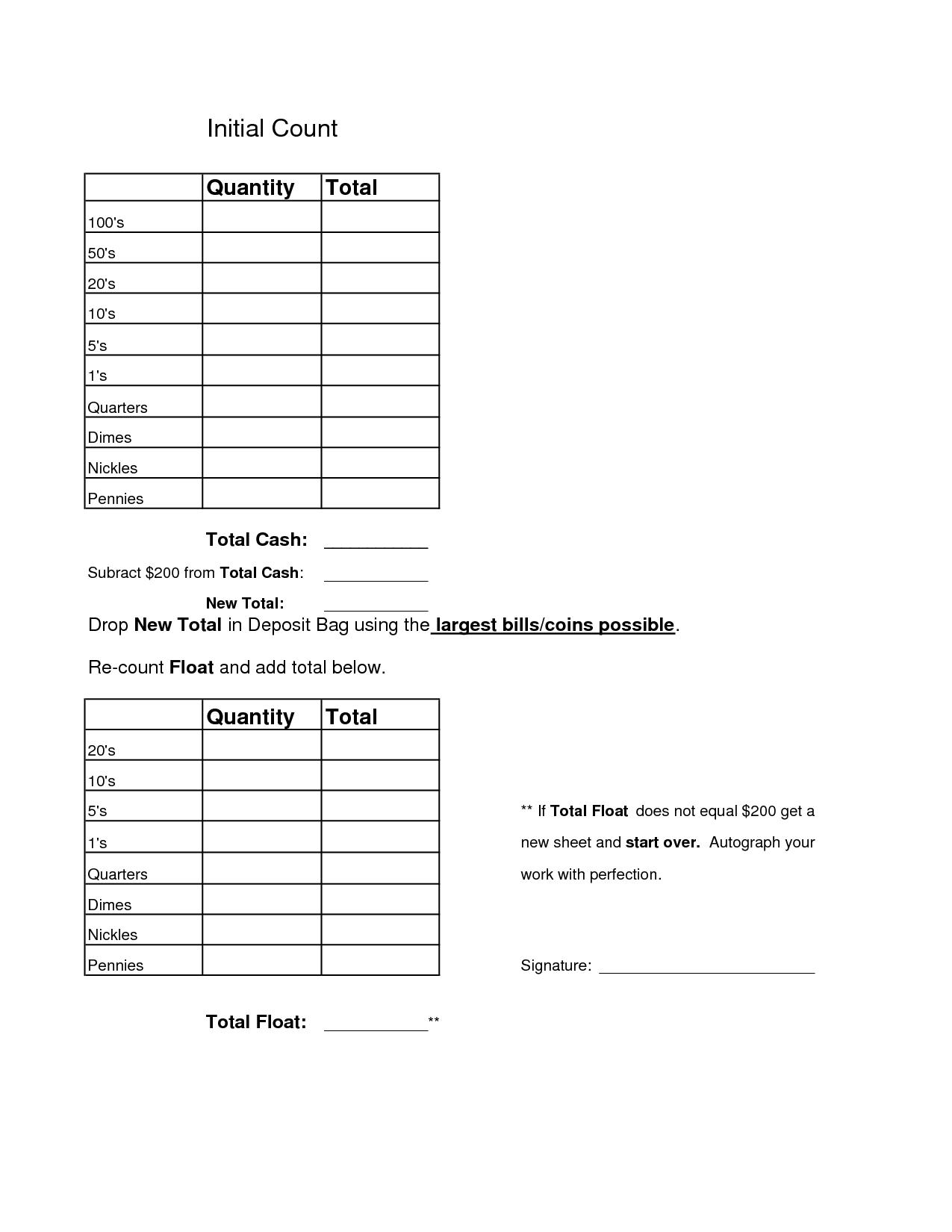 Money Count Sheet