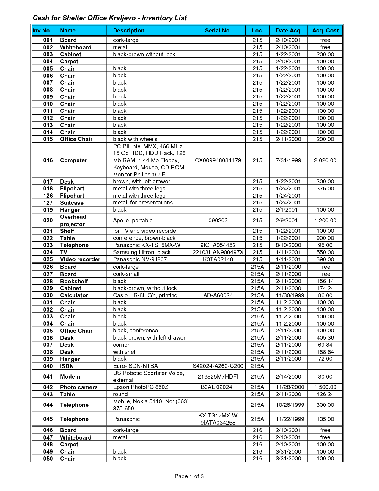 Office Inventory List