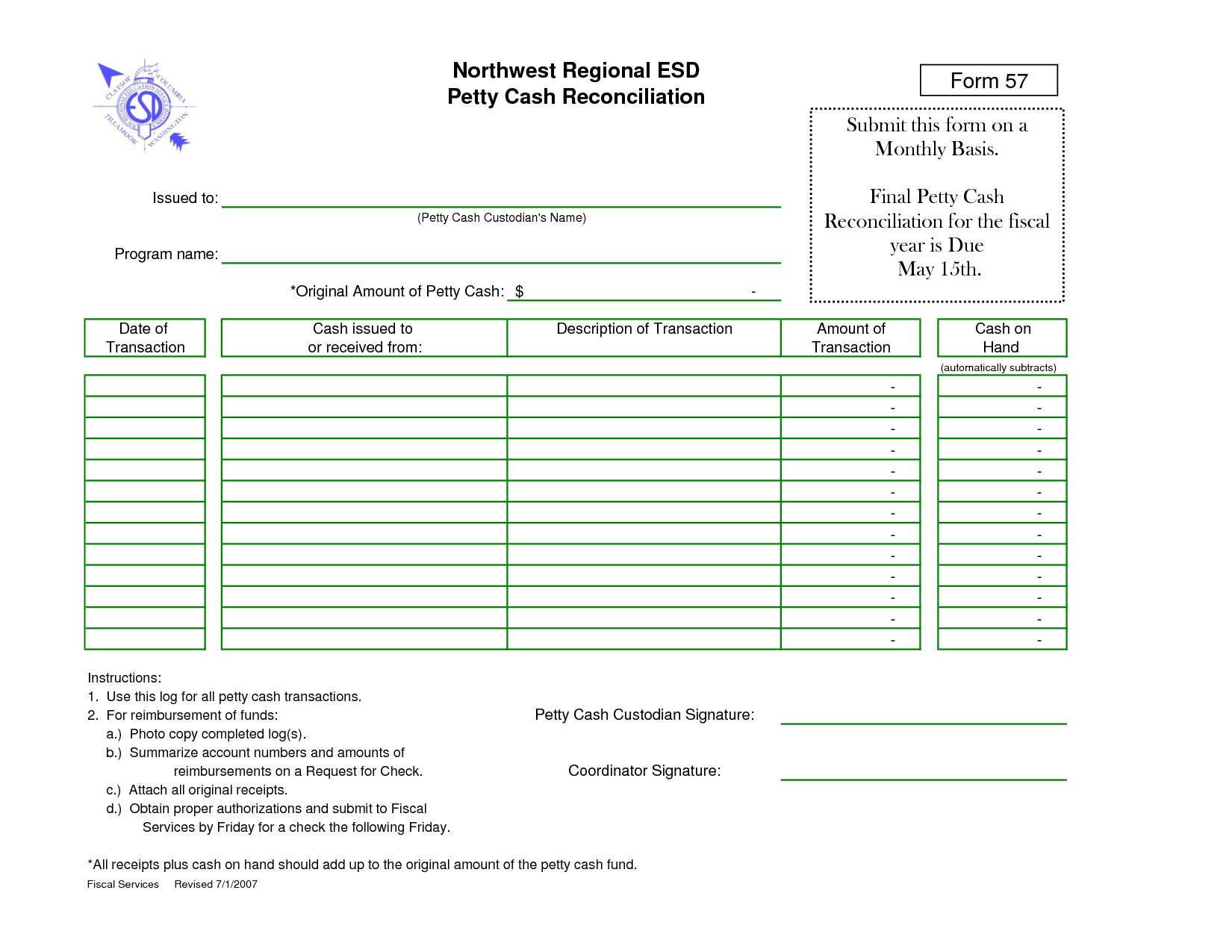 Petty Cash Reconciliation Form