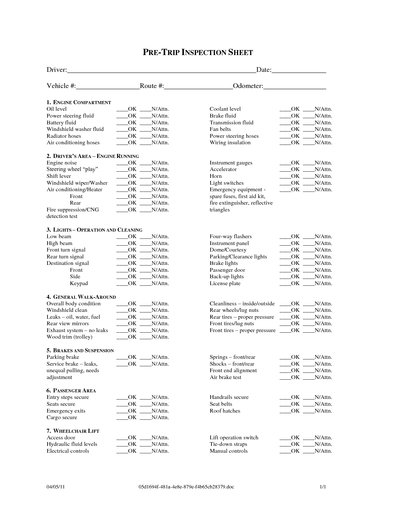 Pre Trip Inspection Checklist Sheet