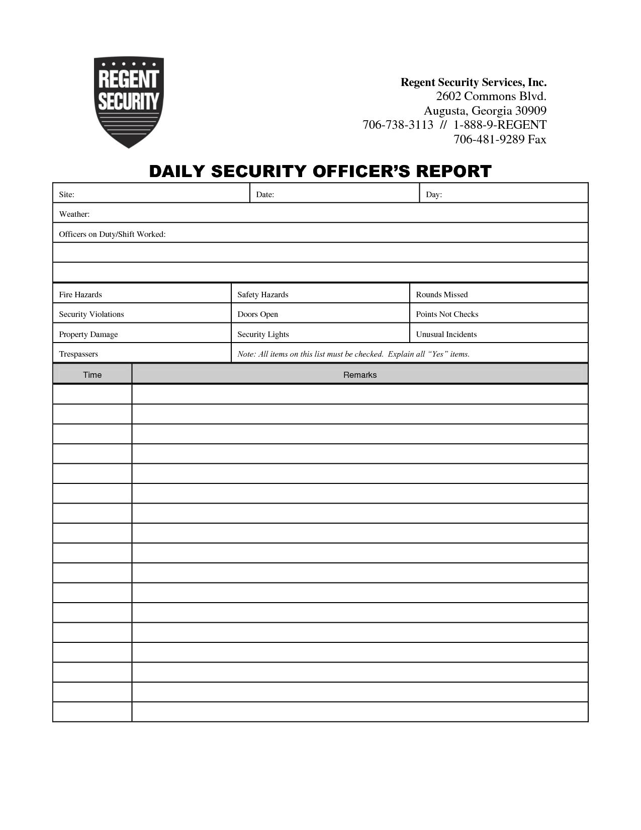 Security Guard Daily Activity Report Template