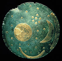 The Nebra sky disk, dated c. 1600 BC. The cluster of dots in the upper right portion of the disk is believed to be the Pleiades.