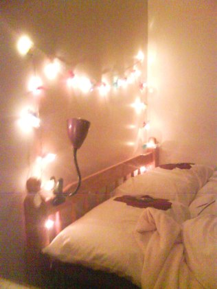My second year room, complete with mandatory girly fairy-lights
