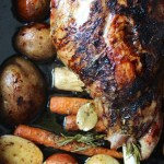 roasted lamb on root vegetables