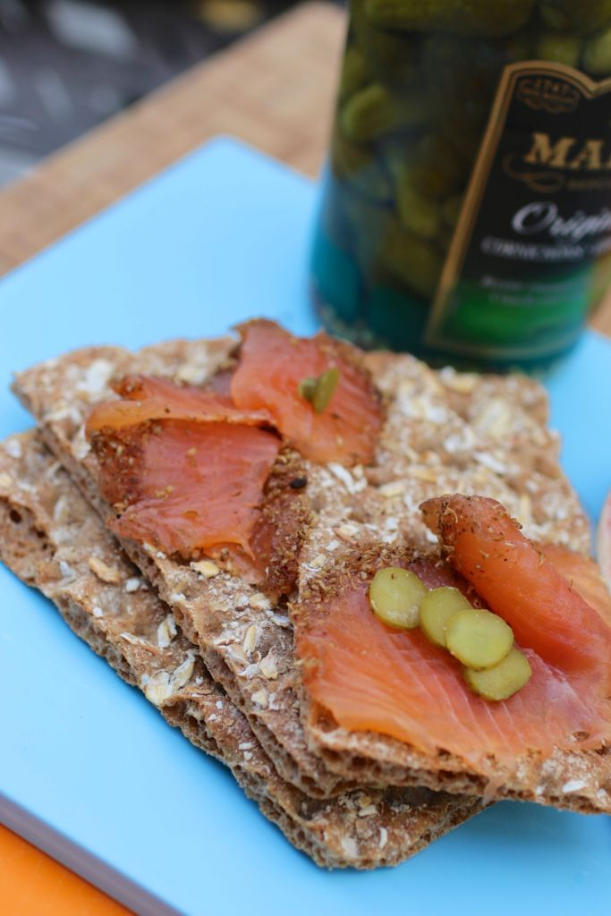 pastrami salmon on Wasa crisp bread