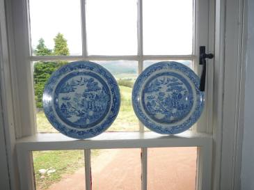 The blue and white patterned plates