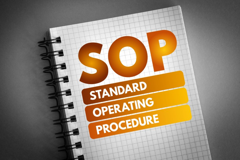 SOP - Standard Operating Procedure acronym, business concept background