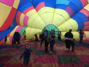They had a bloon inflated on the ground that you could walk inside of. It's massive and the lining is very thin!