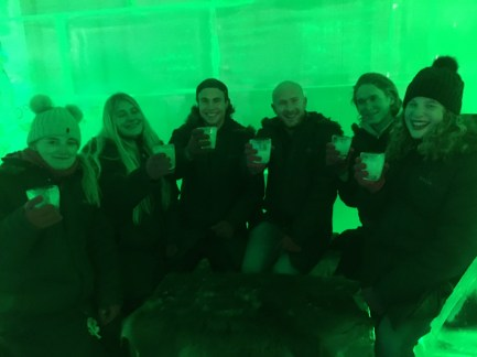 Group of friends at the Ice Bar.