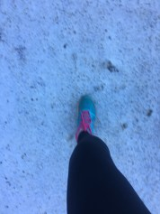Maybe not the best shoes for hiking on snow...