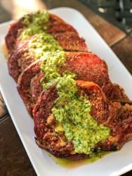 Smoked Ribeye Steaks with Cilantro Chimichurri