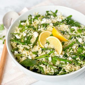 Primavera Orzo with Lemon Feta Dressing