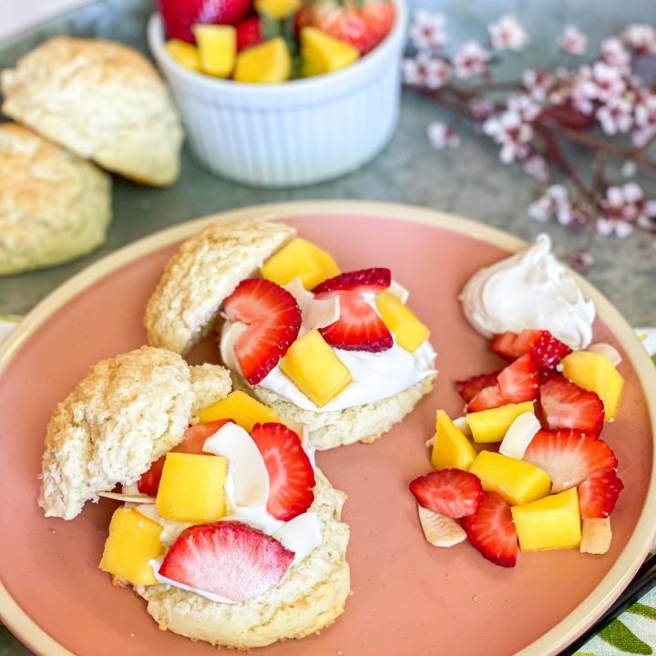 Strawberry Mango Shortcakes with Coconut Cream