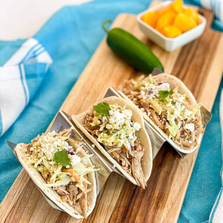 Jerk Chicken Tacos with Mango Lime Slaw